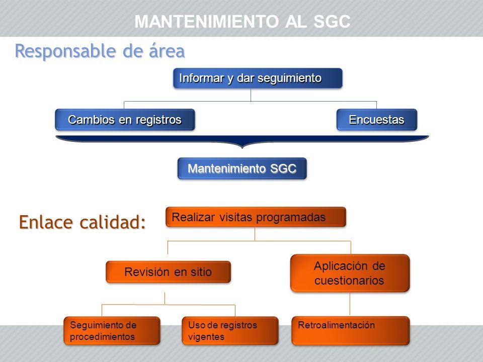 MANTENIMIENTO AL SGC Cambios en registros Aplicación de cuestionarios Revisión en sitio Realizar visitas programadas Informar y dar seguimiento Seguim