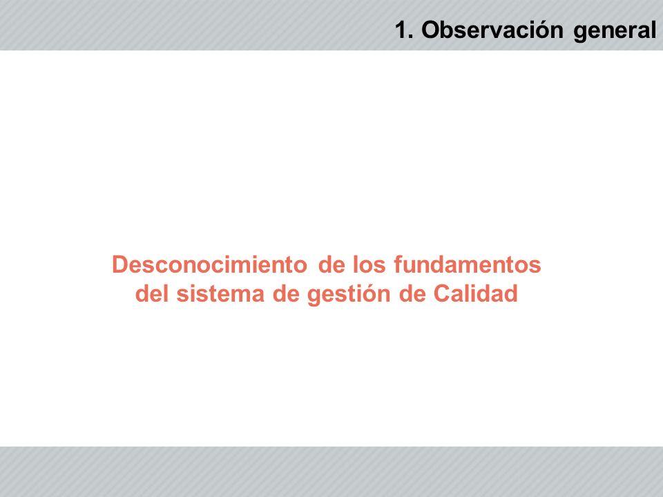 Desconocimiento de los fundamentos del sistema de gestión de Calidad 1. Observación general