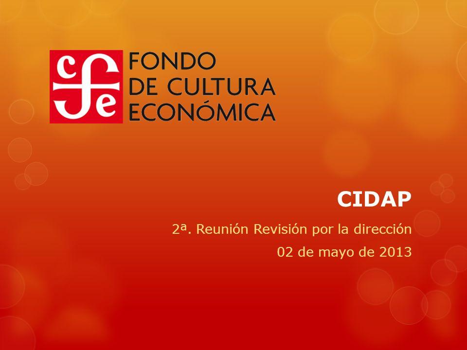 CIDAP 2ª. Reunión Revisión por la dirección 02 de mayo de 2013