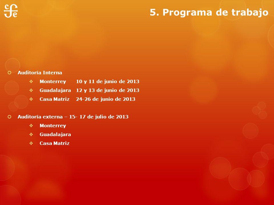 5. Programa de trabajo Auditoría Interna Monterrey 10 y 11 de junio de 2013 Guadalajara 12 y 13 de junio de 2013 Casa Matriz24-26 de junio de 2013 Aud