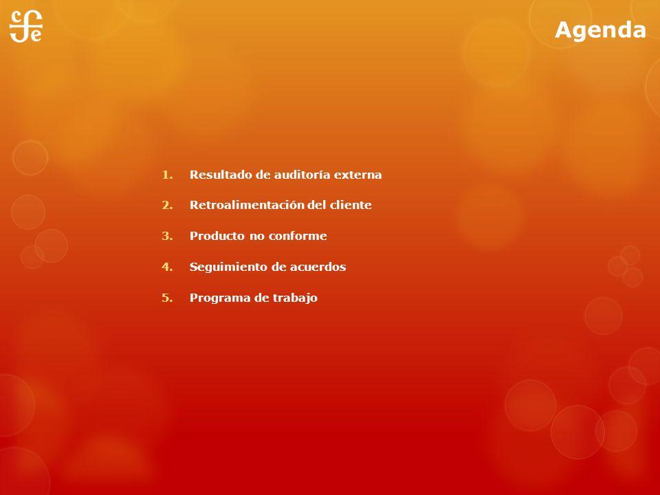 Agenda 1. Resultado de auditoría externa 2. Retroalimentación del cliente 3. Producto no conforme 4. Seguimiento de acuerdos 5. Programa de trabajo