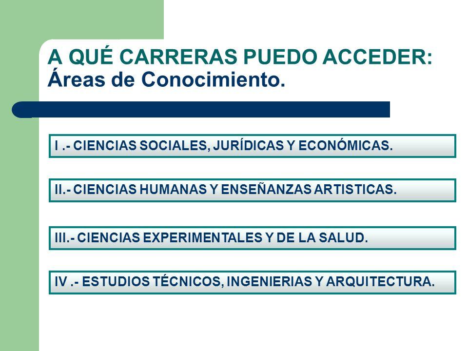 A QUÉ CARRERAS PUEDO ACCEDER: Áreas de Conocimiento. I.- CIENCIAS SOCIALES, JURÍDICAS Y ECONÓMICAS. IV.- ESTUDIOS TÉCNICOS, INGENIERIAS Y ARQUITECTURA