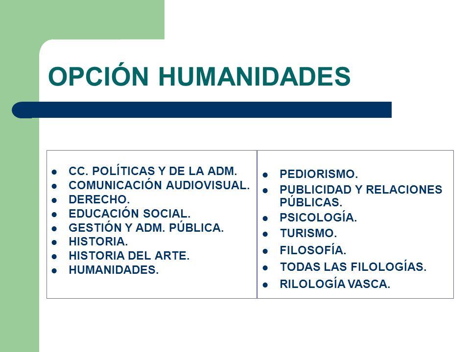 CC. POLÍTICAS Y DE LA ADM. COMUNICACIÓN AUDIOVISUAL. DERECHO. EDUCACIÓN SOCIAL. GESTIÓN Y ADM. PÚBLICA. HISTORIA. HISTORIA DEL ARTE. HUMANIDADES. OPCI