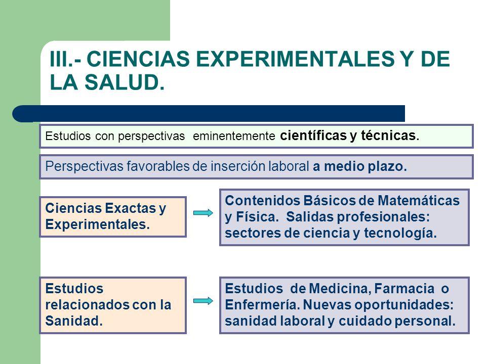 III.- CIENCIAS EXPERIMENTALES Y DE LA SALUD. Estudios con perspectivas eminentemente científicas y técnicas. Perspectivas favorables de inserción labo