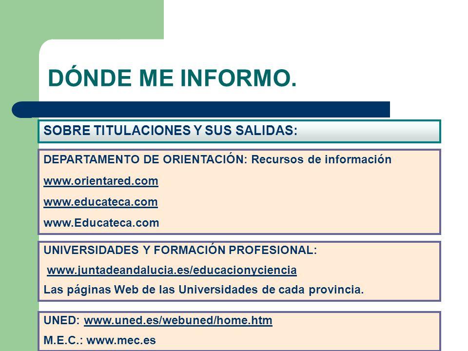 DÓNDE ME INFORMO. SOBRE TITULACIONES Y SUS SALIDAS: DEPARTAMENTO DE ORIENTACIÓN: Recursos de información www.orientared.com www.educateca.com www.Educ