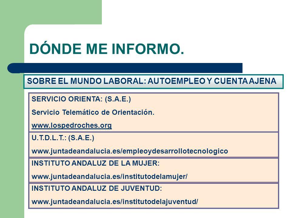SOBRE EL MUNDO LABORAL: AUTOEMPLEO Y CUENTA AJENA DÓNDE ME INFORMO. INSTITUTO ANDALUZ DE JUVENTUD: www.juntadeandalucia.es/institutodelajuventud/ INST