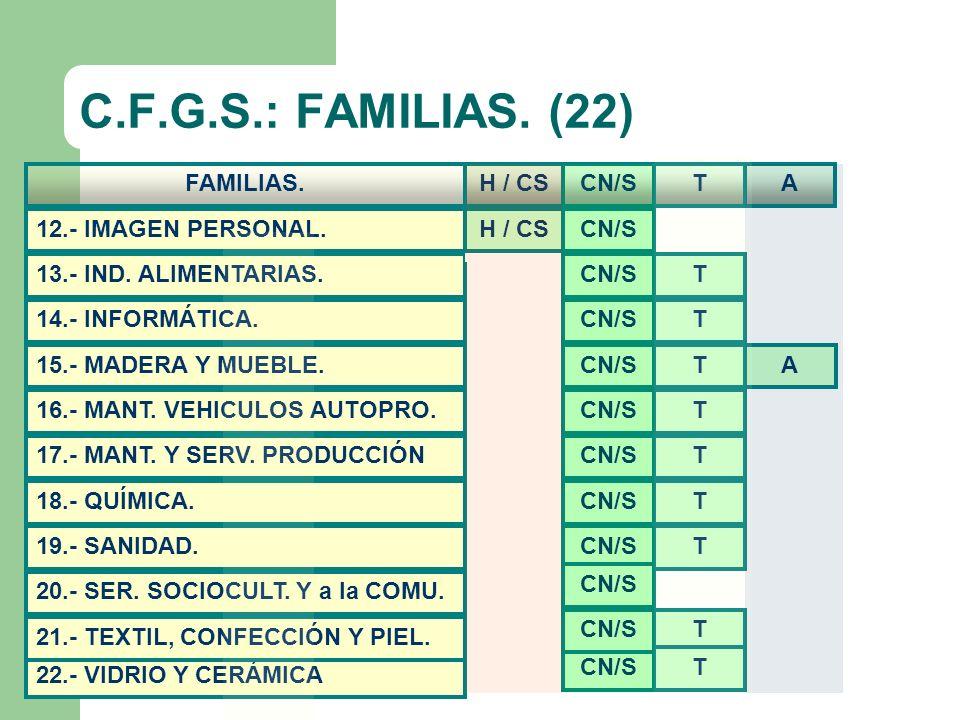 C.F.G.S.: FAMILIAS. (22) 22.- VIDRIO Y CERÁMICA 14.- INFORMÁTICA. 13.- IND. ALIMENTARIAS. 17.- MANT. Y SERV. PRODUCCIÓN 16.- MANT. VEHICULOS AUTOPRO.