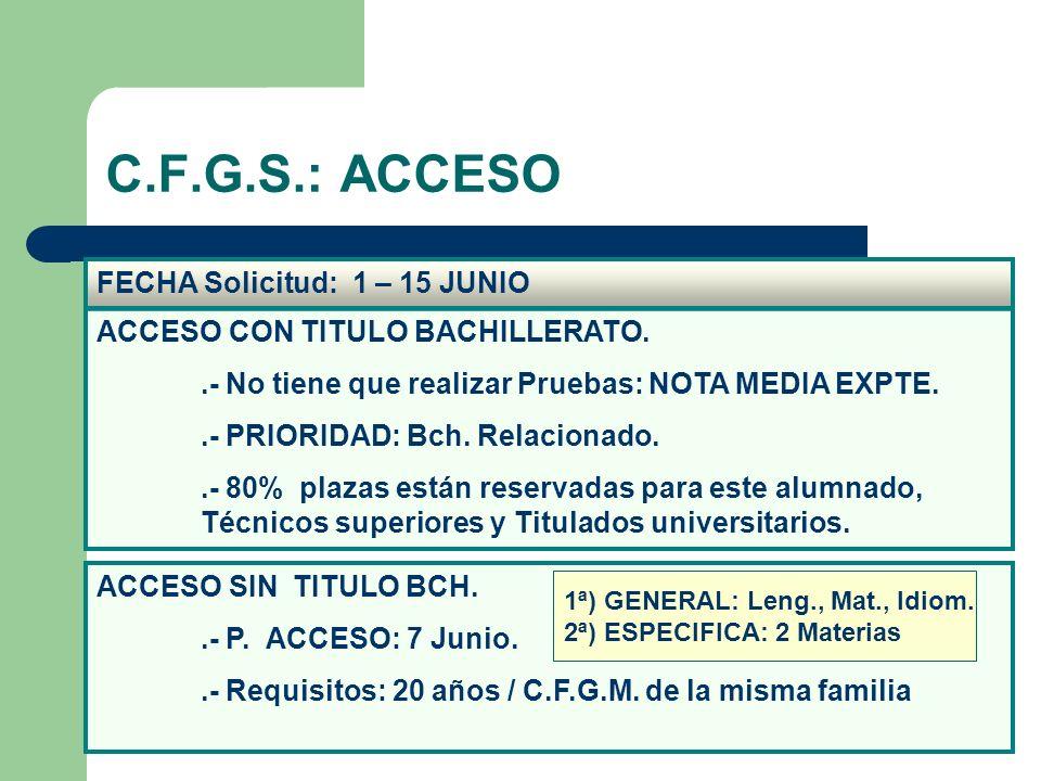 C.F.G.S.: ACCESO FECHA Solicitud: 1 – 15 JUNIO ACCESO SIN TITULO BCH..- P. ACCESO: 7 Junio..- Requisitos: 20 años / C.F.G.M. de la misma familia ACCES