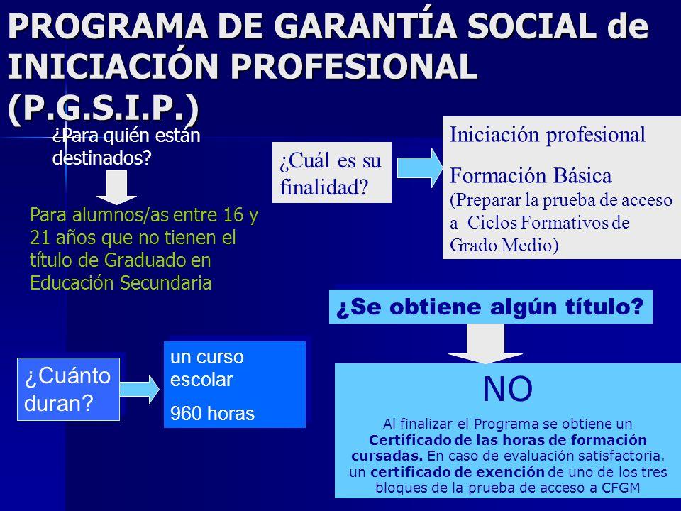 PROGRAMA DE GARANTÍA SOCIAL de INICIACIÓN PROFESIONAL (P.G.S.I.P.) ¿Para quién están destinados? Para alumnos/as entre 16 y 21 años que no tienen el t