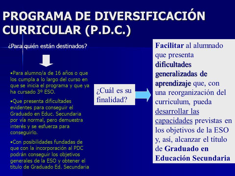 PROGRAMA DE DIVERSIFICACIÓN CURRICULAR (P.D.C.) ¿Para quién están destinados.