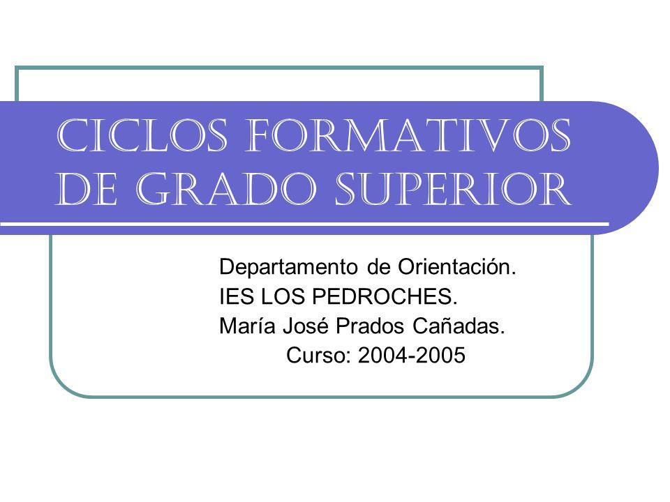 CICLOS FORMATIVOS DE GRADO SUPERIOR Departamento de Orientación.