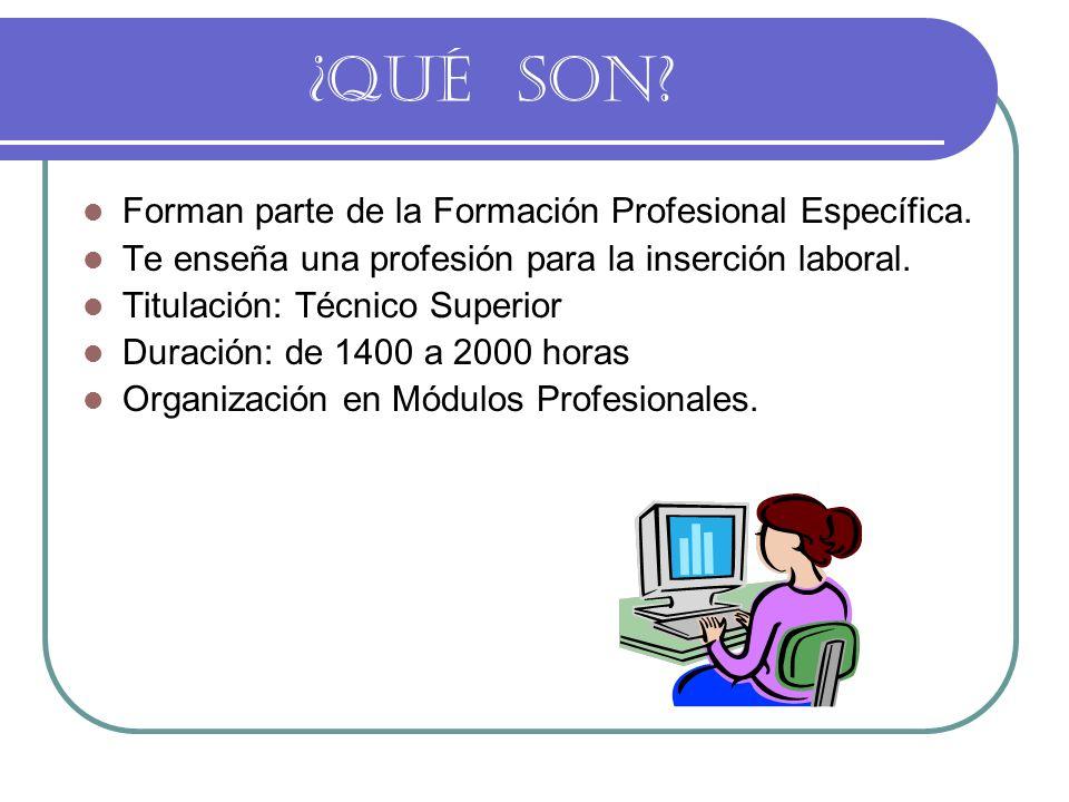 ¿QUÉ SON.Forman parte de la Formación Profesional Específica.