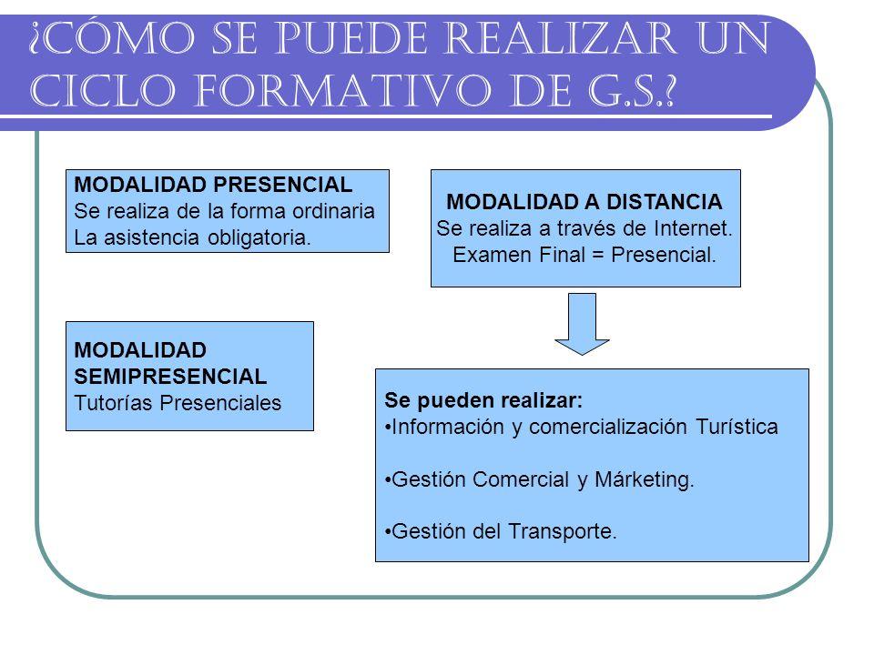 ¿CÓMO SE PUEDE REALIZAR UN CICLO FORMATIVO DE G.S..