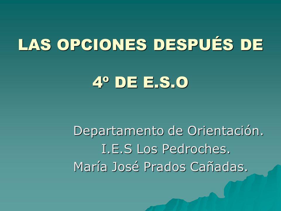 LAS OPCIONES DESPUÉS DE 4º DE E.S.O Departamento de Orientación. I.E.S Los Pedroches. María José Prados Cañadas.