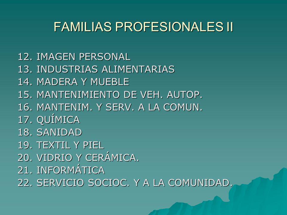 FAMILIAS PROFESIONALES II 12. IMAGEN PERSONAL 13. INDUSTRIAS ALIMENTARIAS 14. MADERA Y MUEBLE 15. MANTENIMIENTO DE VEH. AUTOP. 16. MANTENIM. Y SERV. A