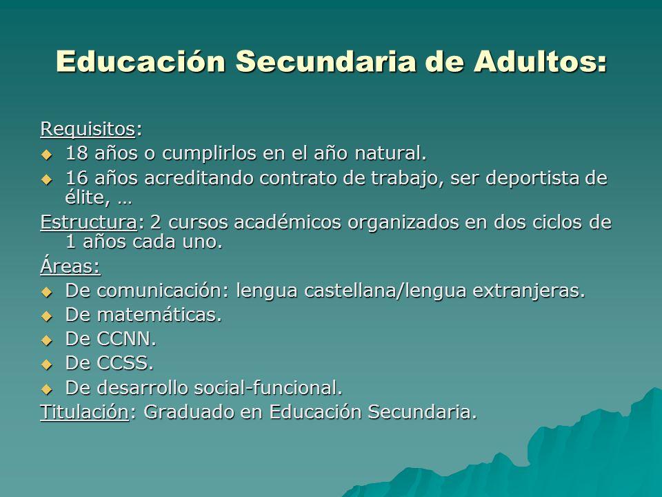 Educación Secundaria de Adultos: Requisitos: 18 años o cumplirlos en el año natural. 18 años o cumplirlos en el año natural. 16 años acreditando contr