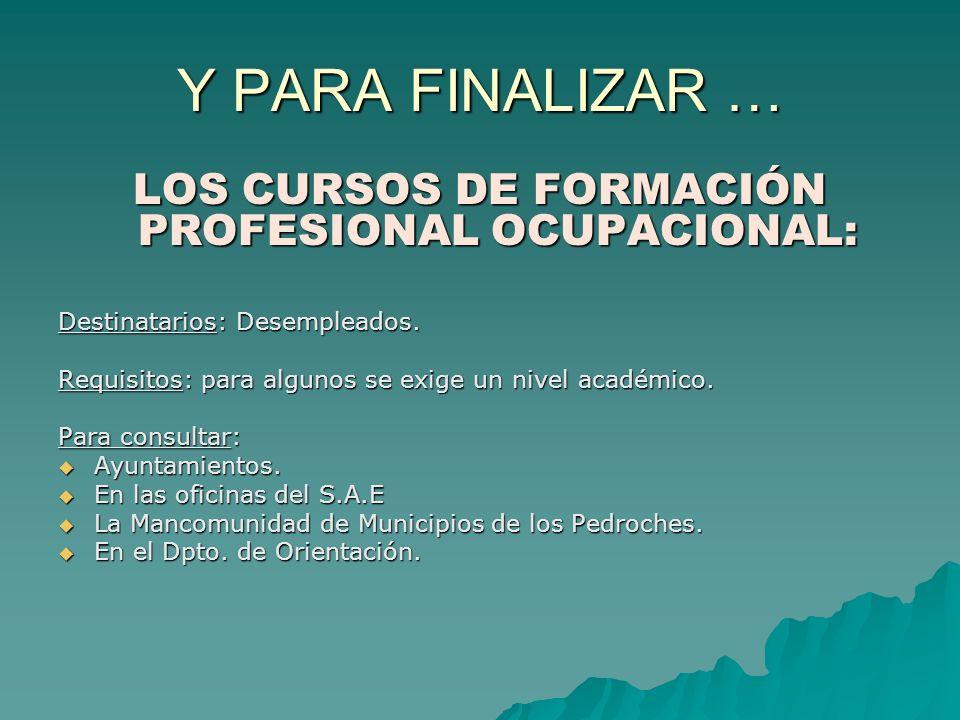 Y PARA FINALIZAR … LOS CURSOS DE FORMACIÓN PROFESIONAL OCUPACIONAL: Destinatarios: Desempleados. Requisitos: para algunos se exige un nivel académico.