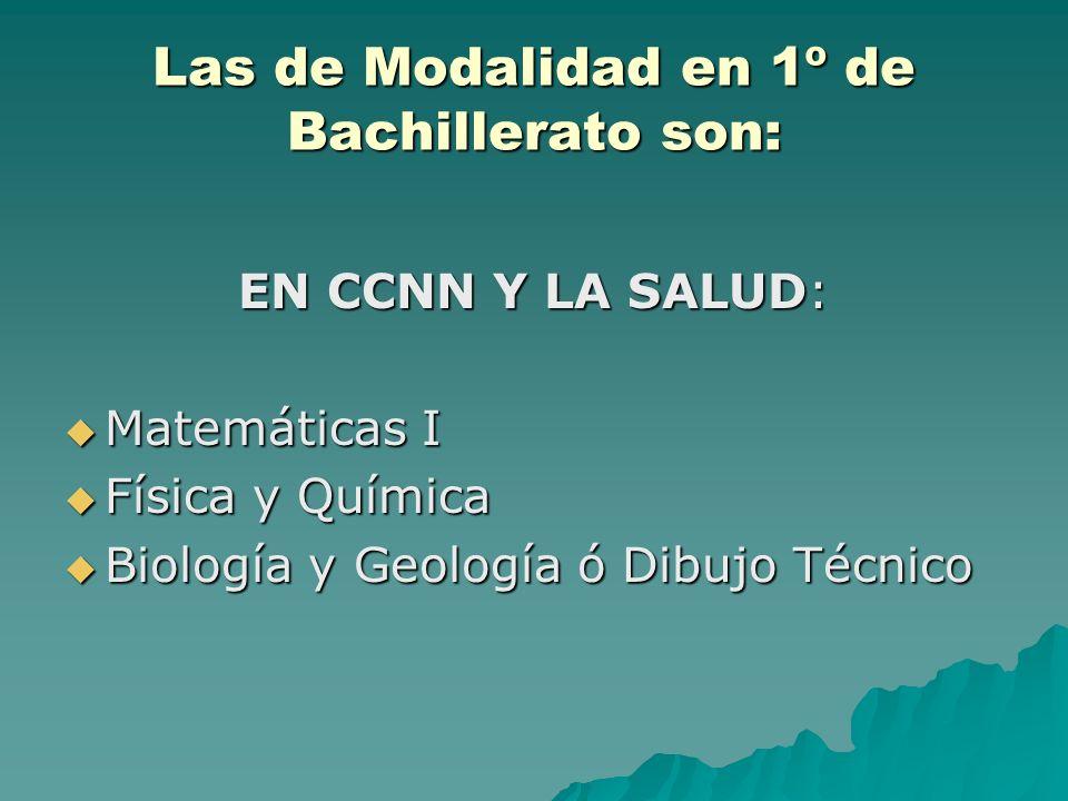 Las de Modalidad en 1º de Bachillerato son: EN CCNN Y LA SALUD: Matemáticas I Matemáticas I Física y Química Física y Química Biología y Geología ó Dibujo Técnico Biología y Geología ó Dibujo Técnico