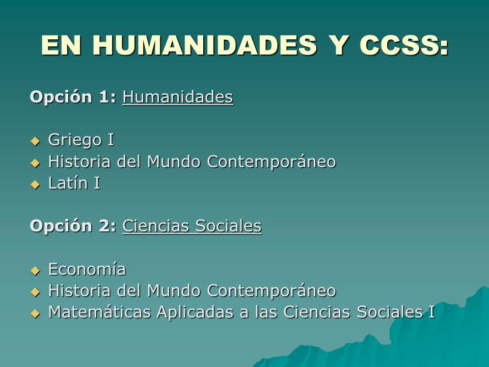 EN HUMANIDADES Y CCSS: Opción 1: Humanidades Griego I Griego I Historia del Mundo Contemporáneo Historia del Mundo Contemporáneo Latín I Latín I Opció