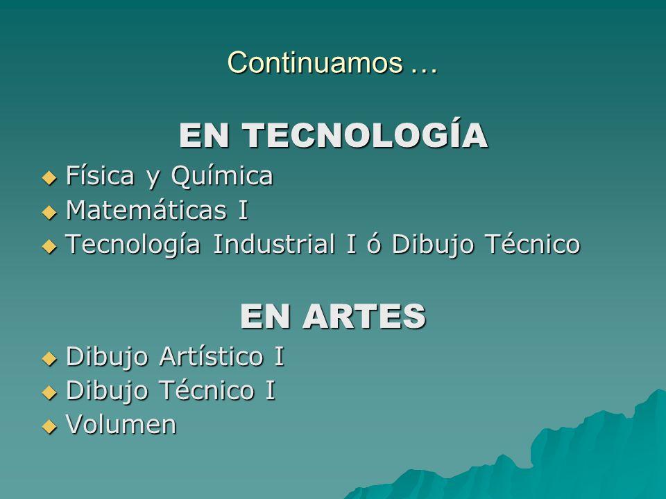 Continuamos … EN TECNOLOGÍA Física y Química Física y Química Matemáticas I Matemáticas I Tecnología Industrial I ó Dibujo Técnico Tecnología Industri
