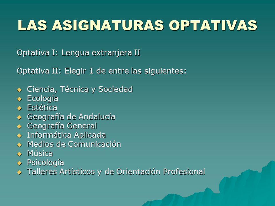 LAS ASIGNATURAS OPTATIVAS Optativa I: Lengua extranjera II Optativa II: Elegir 1 de entre las siguientes: Ciencia, Técnica y Sociedad Ecología Estétic