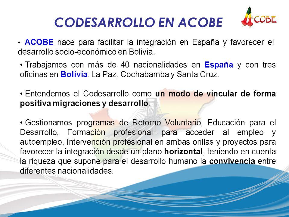 CODESARROLLO EN ACOBE ACOBE nace para facilitar la integración en España y favorecer el desarrollo socio-económico en Bolivia. Trabajamos con más de 4