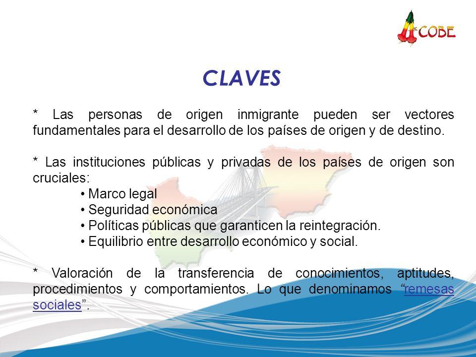 * Las personas de origen inmigrante pueden ser vectores fundamentales para el desarrollo de los países de origen y de destino. * Las instituciones púb