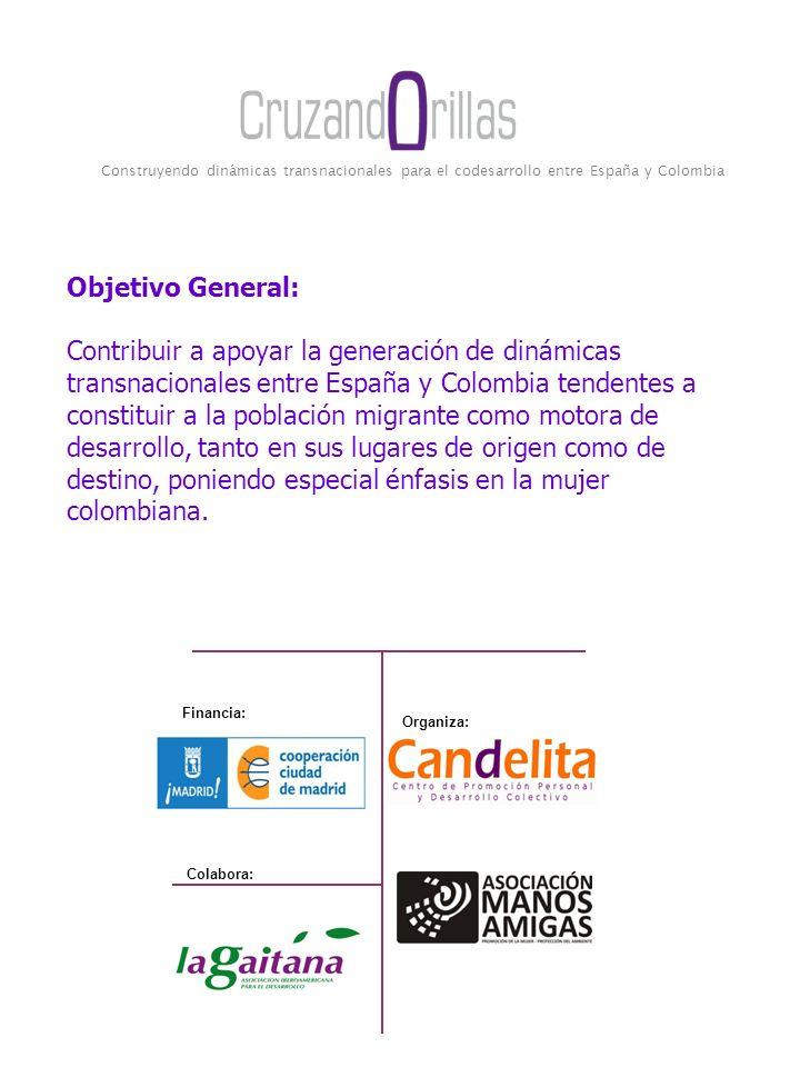 Construyendo dinámicas transnacionales para el codesarrollo entre España y Colombia Financia: Organiza: Colabora: Objetivo General: Contribuir a apoya