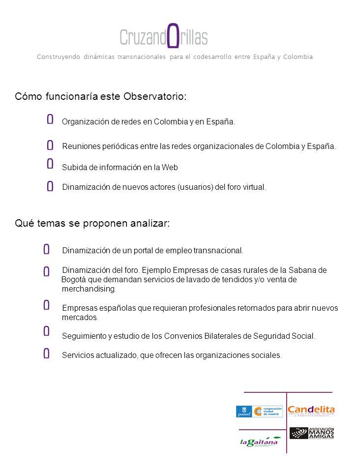 Construyendo dinámicas transnacionales para el codesarrollo entre España y Colombia Cómo funcionaría este Observatorio: Organización de redes en Colombia y en España.