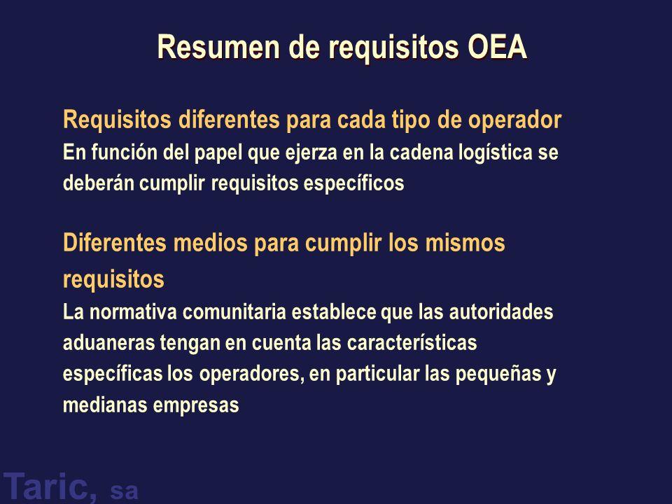 Taric, sa Resumen de requisitos OEA Requisitos diferentes para cada tipo de operador En función del papel que ejerza en la cadena logística se deberán cumplir requisitos específicos Diferentes medios para cumplir los mismos requisitos La normativa comunitaria establece que las autoridades aduaneras tengan en cuenta las características específicas los operadores, en particular las pequeñas y medianas empresas