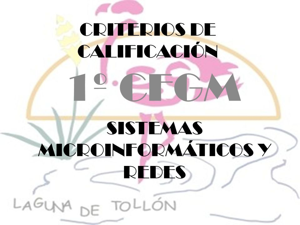 CRITERIOS DE CALIFICACIÓN 1º CFGM SISTEMAS MICROINFORMÁTICOS Y REDES