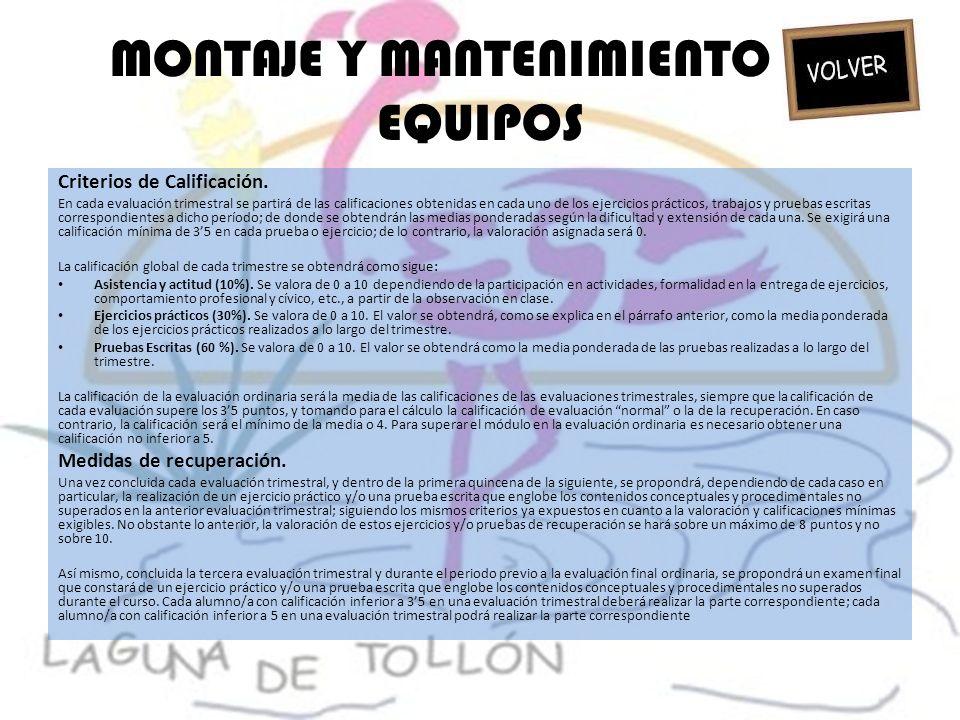 MONTAJE Y MANTENIMIENTO DE EQUIPOS Criterios de Calificación.