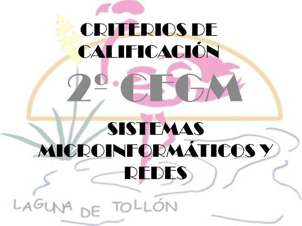 CRITERIOS DE CALIFICACIÓN 2º CFGM SISTEMAS MICROINFORMÁTICOS Y REDES