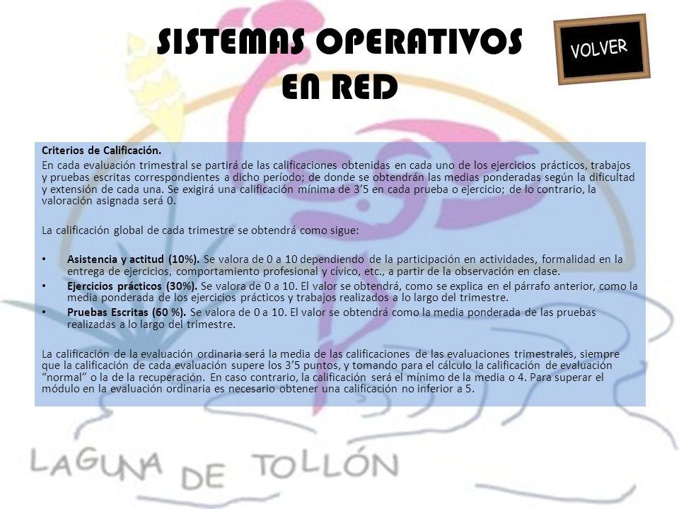 SISTEMAS OPERATIVOS EN RED Criterios de Calificación. En cada evaluación trimestral se partirá de las calificaciones obtenidas en cada uno de los ejer