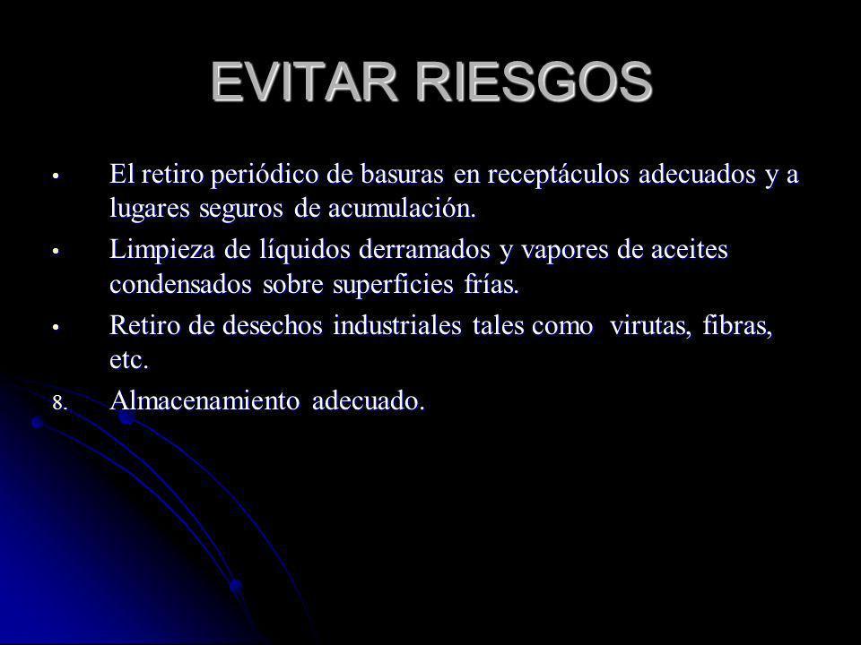 EVITAR RIESGOS El retiro periódico de basuras en receptáculos adecuados y a lugares seguros de acumulación. El retiro periódico de basuras en receptác