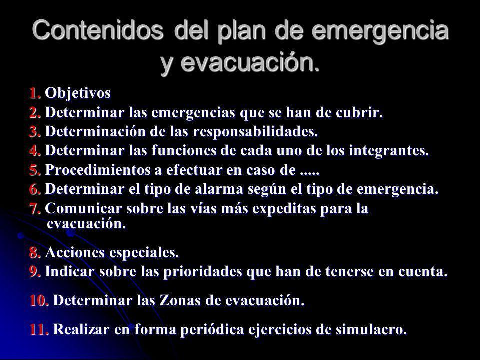 Contenidos del plan de emergencia y evacuación. 1. Objetivos 2. Determinar las emergencias que se han de cubrir. 3. Determinación de las responsabilid
