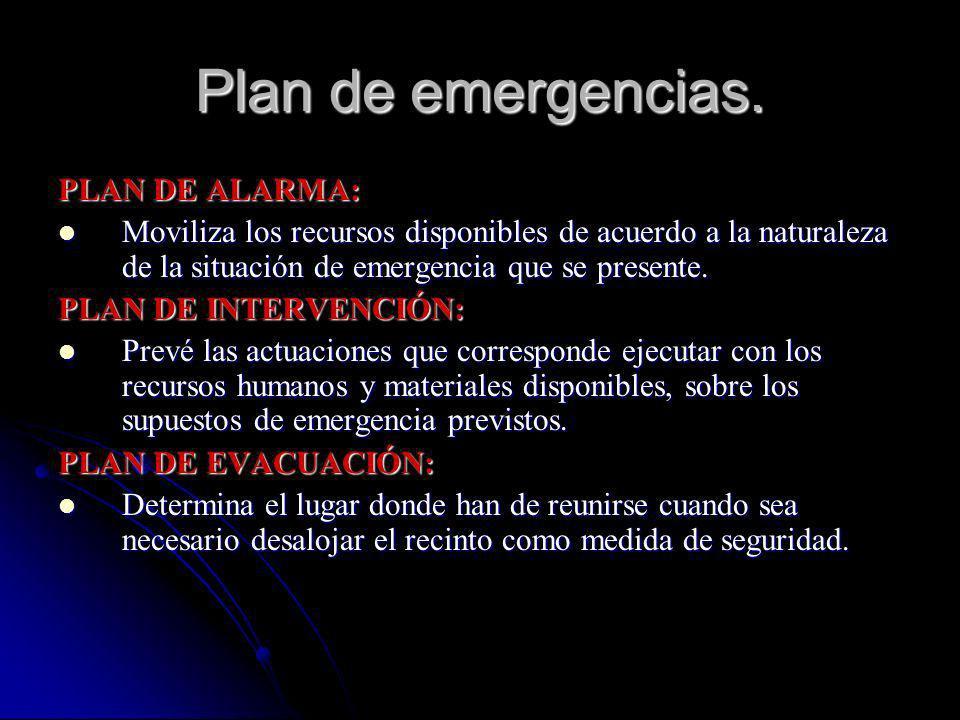 Plan de emergencias. PLAN DE ALARMA: Moviliza los recursos disponibles de acuerdo a la naturaleza de la situación de emergencia que se presente. Movil
