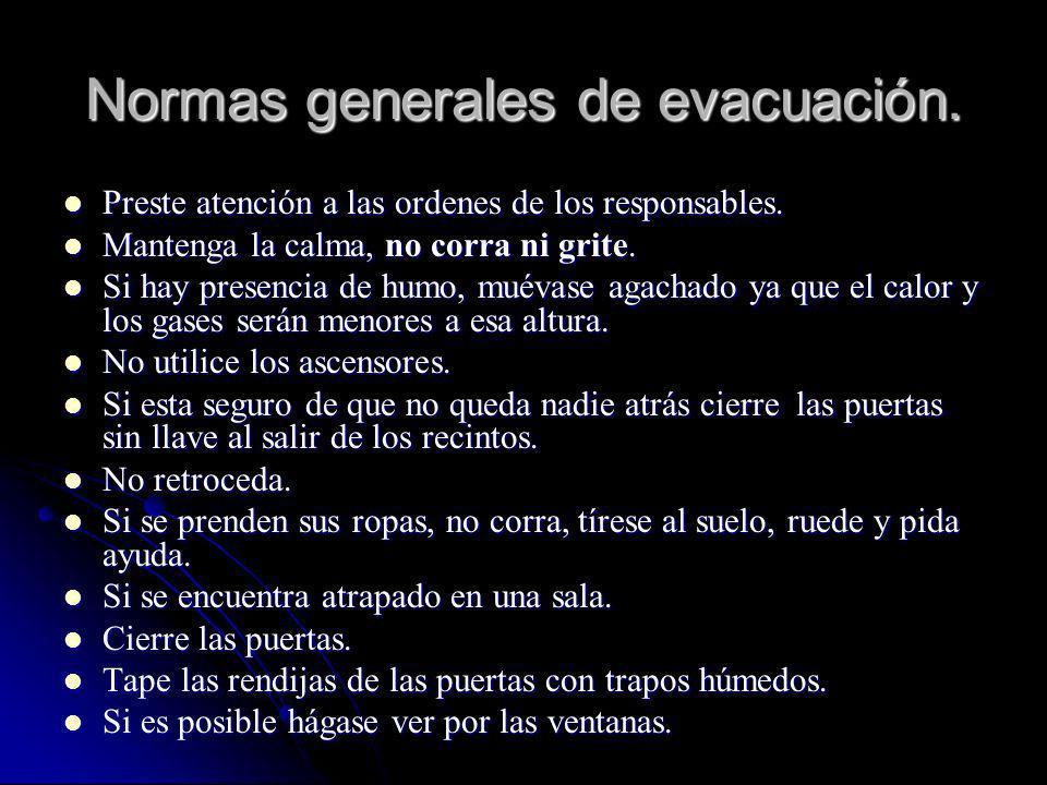 Normas generales de evacuación. Preste atención a las ordenes de los responsables. Preste atención a las ordenes de los responsables. Mantenga la calm