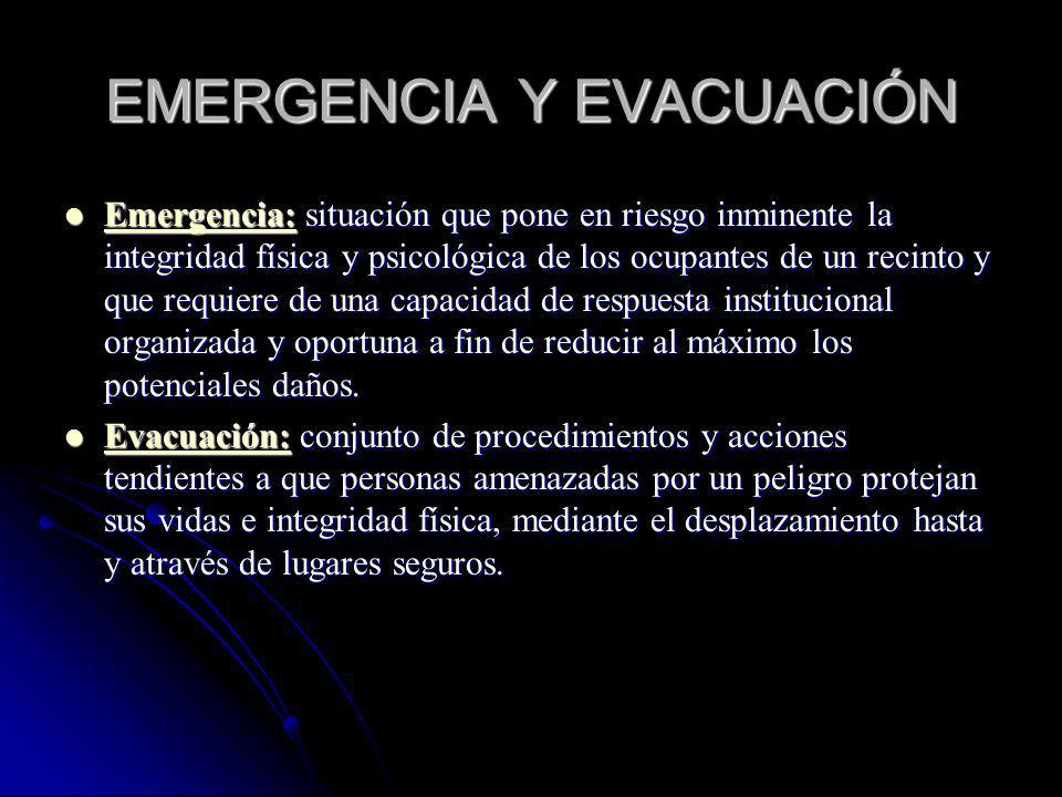 EMERGENCIA Y EVACUACIÓN Emergencia: situación que pone en riesgo inminente la integridad física y psicológica de los ocupantes de un recinto y que req