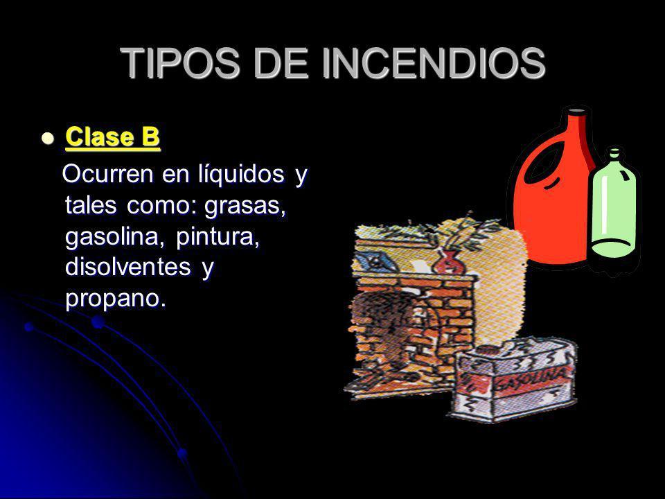 TIPOS DE INCENDIOS Clase B Clase B Ocurren en líquidos y tales como: grasas, gasolina, pintura, disolventes y propano. Ocurren en líquidos y tales com