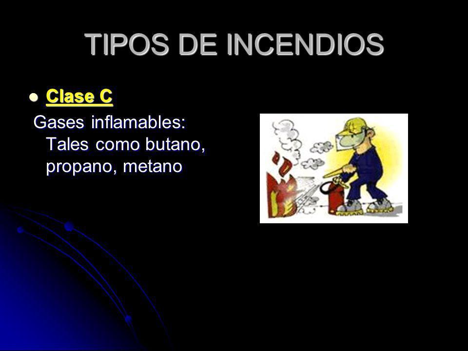 TIPOS DE INCENDIOS Clase C Clase C Gases inflamables: Tales como butano, propano, metano Gases inflamables: Tales como butano, propano, metano