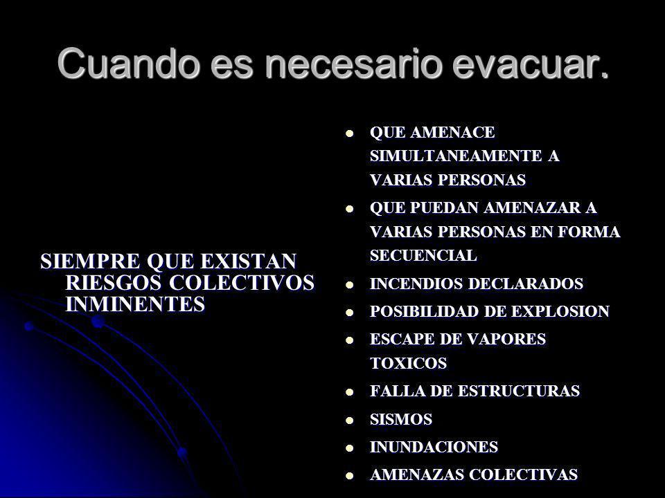 Cuando es necesario evacuar. QUE AMENACE SIMULTANEAMENTE A VARIAS PERSONAS QUE AMENACE SIMULTANEAMENTE A VARIAS PERSONAS QUE PUEDAN AMENAZAR A VARIAS
