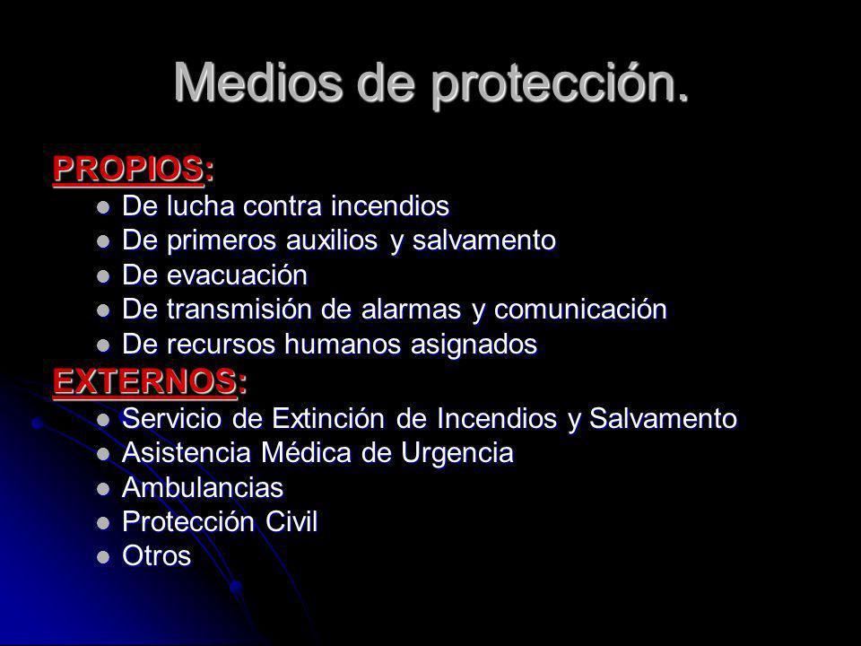 Medios de protección. PROPIOS: De lucha contra incendios De lucha contra incendios De primeros auxilios y salvamento De primeros auxilios y salvamento