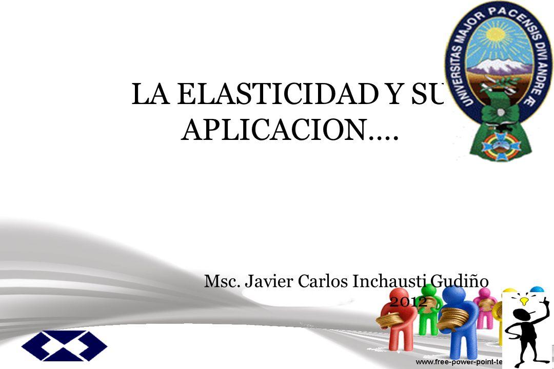 LA ELASTICIDAD Y SU APLICACION…. Msc. Javier Carlos Inchausti Gudiño 2012