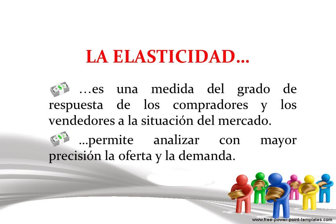 LA ELASTICIDAD… … es una medida del grado de respuesta de los compradores y los vendedores a la situación del mercado. …permite analizar con mayor pre