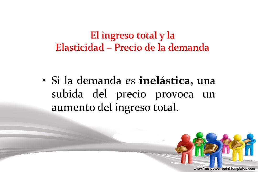 El ingreso total y la Elasticidad – Precio de la demanda Si la demanda es inelástica, una subida del precio provoca un aumento del ingreso total.