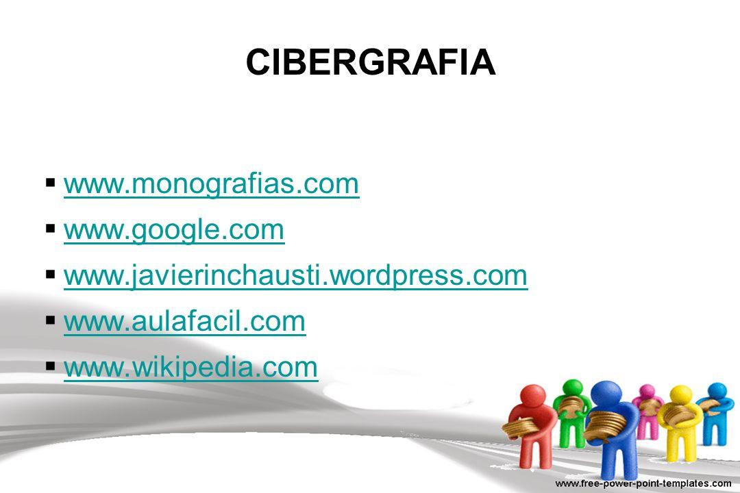 www.monografias.com www.google.com www.javierinchausti.wordpress.com www.aulafacil.com www.wikipedia.com CIBERGRAFIA