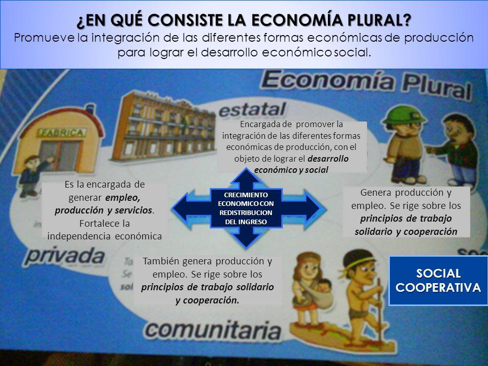 ¿EN QUÉ CONSISTE LA ECONOMÍA PLURAL? Promueve la integración de las diferentes formas económicas de producción para lograr el desarrollo económico soc