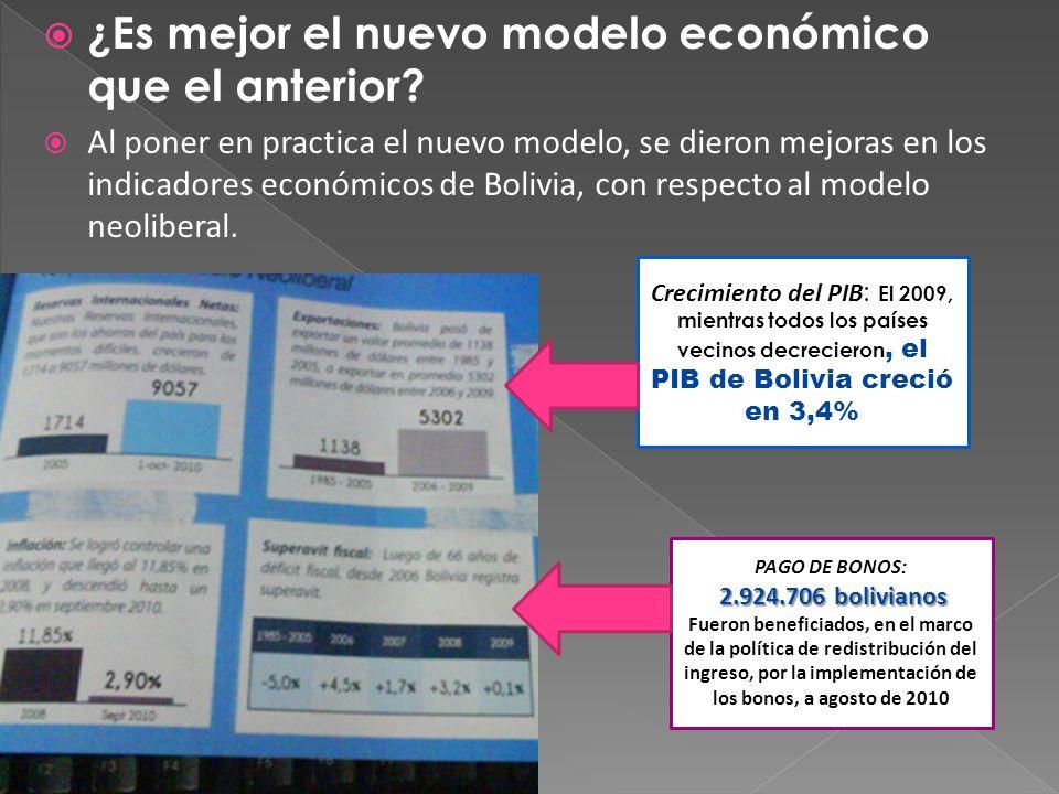 ¿Es mejor el nuevo modelo económico que el anterior? Al poner en practica el nuevo modelo, se dieron mejoras en los indicadores económicos de Bolivia,
