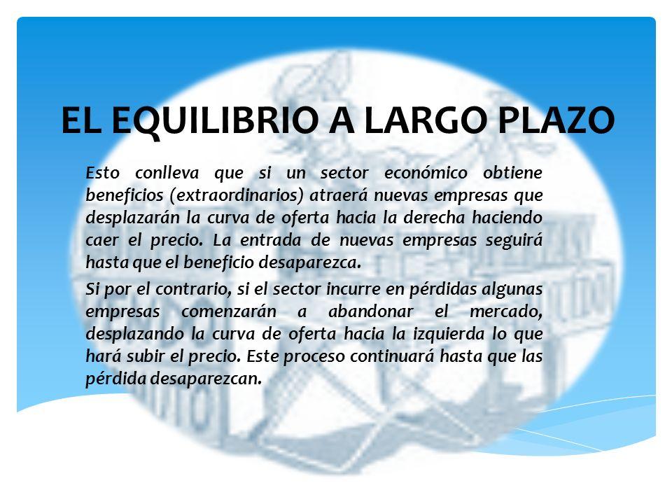 EL EQUILIBRIO A LARGO PLAZO Esto conlleva que si un sector económico obtiene beneficios (extraordinarios) atraerá nuevas empresas que desplazarán la c